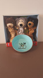 3 Pack Furry Dog Toys and Dog Bowl