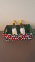 2 Botles of Wine in a Christmas Fabric Basket