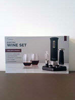 Rabbit 5-piece electric wine set with 2 stemless glasses, corkscrew, wine topper and preserver pump