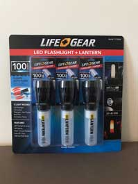 3 pack of Lifegear battery-powered LED flashlight/lanterns