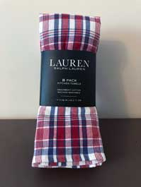Ralph Lauren red, blue, and white plaid kitchen towels 8-pack
