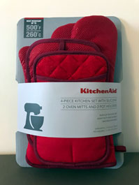Kitchenaid silicone grip fabric oven mitt set with 2 oven mitts and 2 pot holders