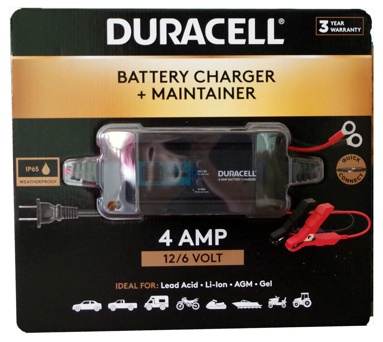 Duracell 4 amp battery charger & maintainer