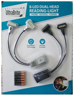 UltraBrite 8-LED Dual-Head Reading Lights, 2 pack