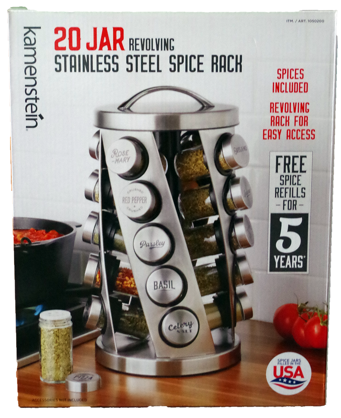 Kamenstein 20 jar revolving stainless steel spice rack