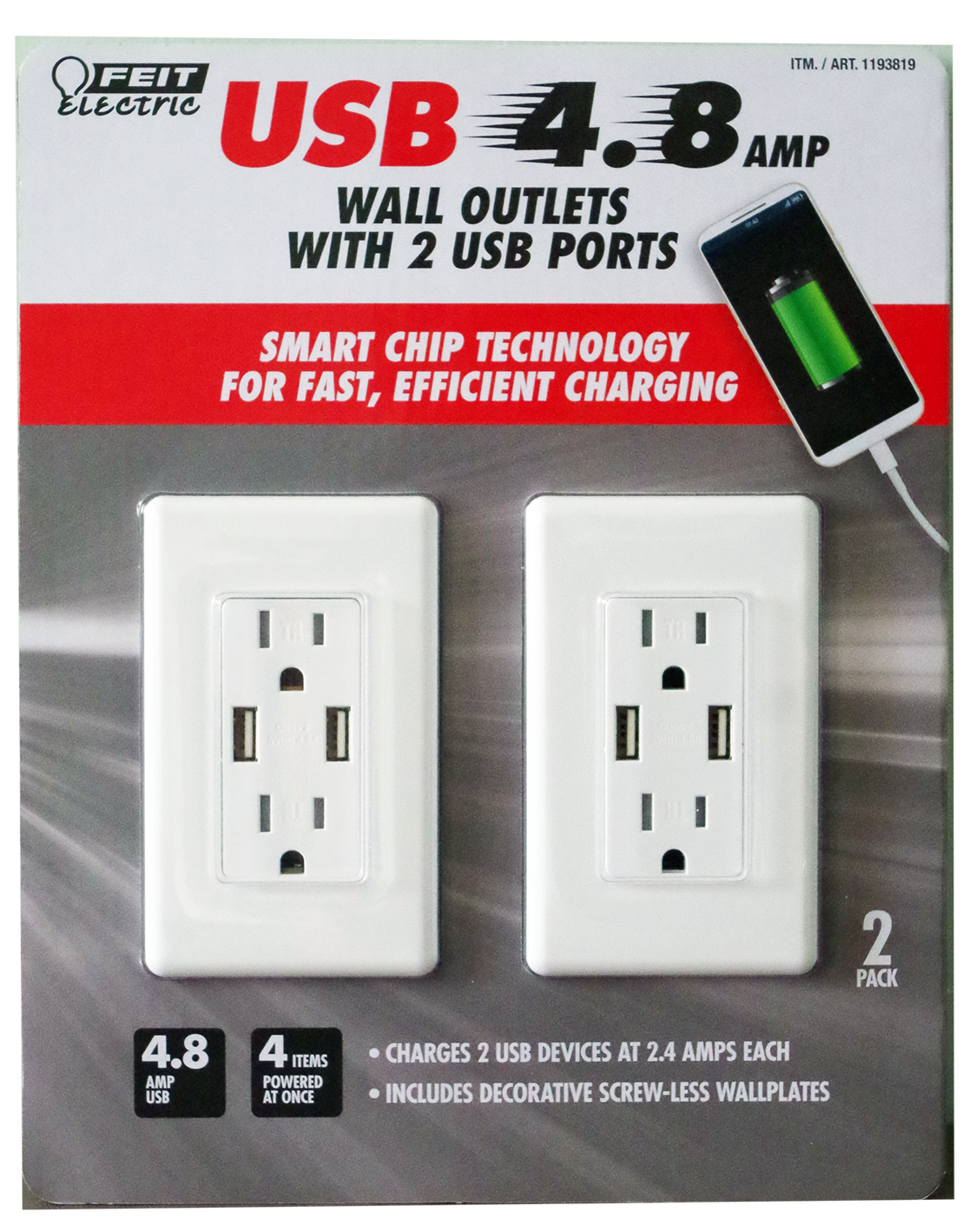 Feit Electric wall outlets with 2 USB ports, 2 pack