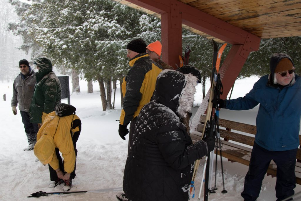 Skiers under shelter area at nursery