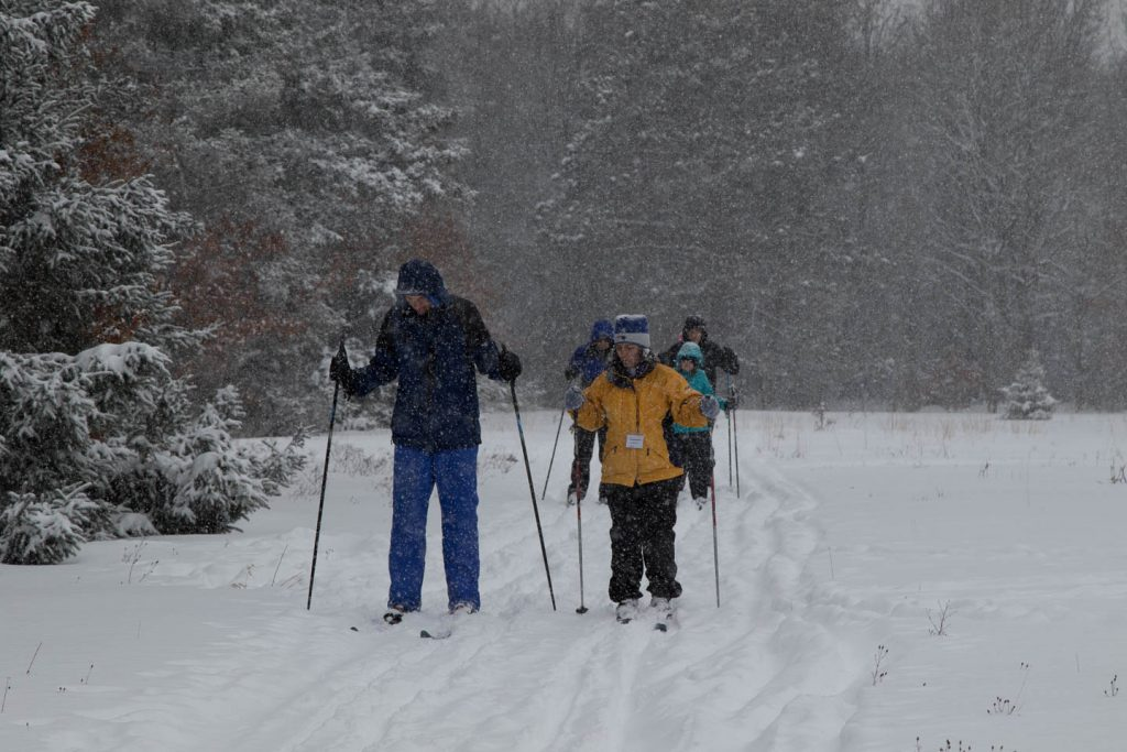 Skiers on nursery trail as it snows